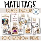 Boho Rainbow Class Decor Math Task Board Tags