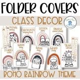 Boho Rainbow Class Decor Teacher Folder Covers