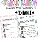 Boho Rainbow Classroom/Bathroom Rules (Editable) Classroom Decor