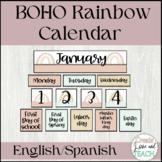 Boho Rainbow Classroom Calendar English Spanish and Editable