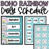Boho Rainbow Classroom Daily Schedule & Clocks, Boho Rainb