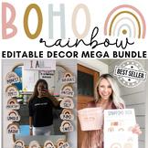 Boho Rainbow Classroom Decor 2,500+ Pages! Editable!