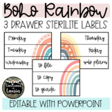 Boho Rainbow Classroom Decor - Editable 3 Drawer Sterilite Labels