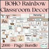 Boho Rainbow Classroom Decor and More English Spanish