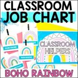 Boho Rainbow Classroom Job Chart, Class Jobs Bulletin Boar