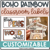 Boho Rainbow Classroom Labels┃Rainbow Boho Theme ┃ Neutral Colors ┃Supply Labels