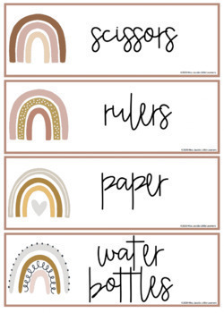 Boho Rainbow Classroom Labels and Student Name Plates