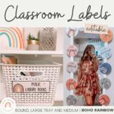 Modern BOHO RAINBOW Classroom Labels Bundle | Editable Neutral Rainbow Decor
