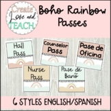 Boho Rainbow Classroom Pass Hall Pass English Spanish