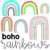 Boho Rainbow Clipart Collection   Bright and Colorful