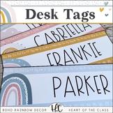 Boho Rainbow - Desk Tags {Editable}