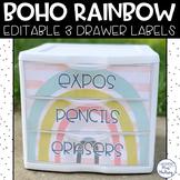 Boho Rainbow: Editable 3 Drawer Labels