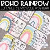 Boho Rainbow Editable Class Rules