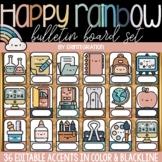Boho Rainbow Editable Classroom Decor | Bulletin Board | C