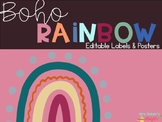 Boho Rainbow Editable Labels & Posters