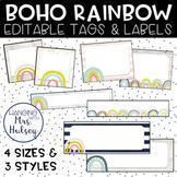 Boho Rainbow Editable Name Tags and Labels