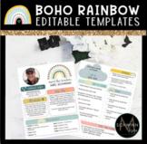 Boho Rainbow Editable Templates   Newsletter   Meet the Teacher