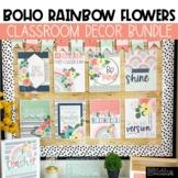 Boho Rainbow Flowers Classroom Decor Bundle