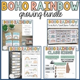 Boho Rainbow Classroom Decor | Growing Bundle | Editable