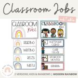Modern Rainbow Classroom Jobs Display | Editable Boho Rainbow - Calm Colors