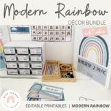 Modern Rainbow Classroom Decor Bundle | Editable Boho Rain