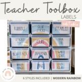 Modern Rainbow Teacher Toolbox Labels   Editable Boho Rainbow Decor - Calm Color