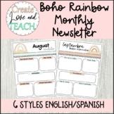 Boho Rainbow Monthly Newsletter Templates English Spanish