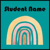 Boho Rainbow Name Tags- Book Bin Name Tags: Editable
