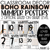 Boho Rainbow Number Posters   Classroom Decor