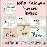 Boho Rainbow Number Posters English Spanish