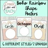 Boho Rainbow Shape Posters English Spanish