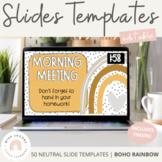 Boho Rainbow Google Slides with Countdown Timers | Neutral