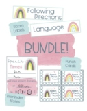 Boho Rainbow Speech Therapy Bundle- Labels, Punch Cards, and Time Cards