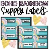 Boho Rainbow Supply Labels, Classroom Decor Labels, Classr