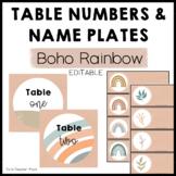 Boho Rainbow Table Numbers and Name Plates Editable