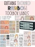 Boho Rainbow Teacher Toolbox Labels EDITABLE