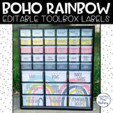 Boho Rainbow Teacher Toolbox Labels (Editable)