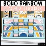 Boho Rainbow Teacher Toolbox Labels -Editable