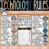 Boho Rainbow Technology Rules Posters  | Bulletin Board |