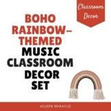 Boho Rainbow Themed Music Classroom Decor Set