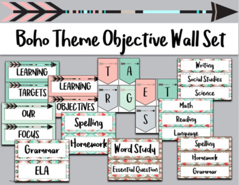 Boho Theme Objective Wall Set