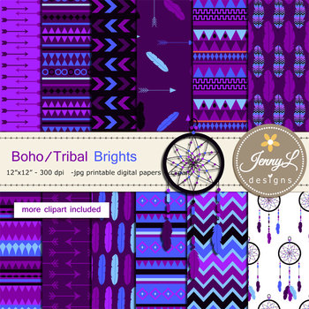 Boho Tribal Brights digital paper and clipart