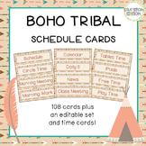 Boho Tribal Editable Schedule Cards