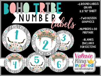 Boho Tribe Collection: Number Labels