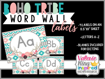 Boho Tribe Collection: Word Wall Labels