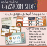 Boho Vibes Editable Morning Routine and Classroom Slides   Distance Learning