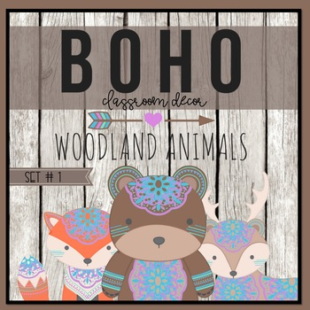 Boho Woodland Animal Classroom Decor Set 1