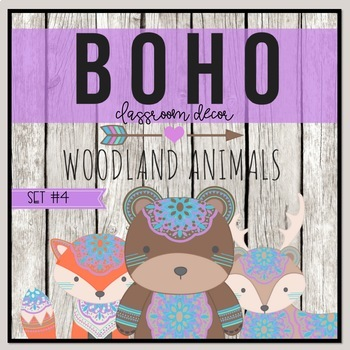 Boho Woodland Animals Classroom Decor Set 4