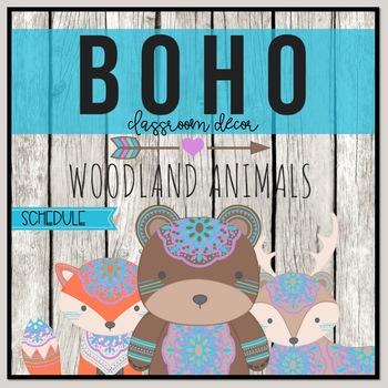 Boho Woodland Schedule Cards