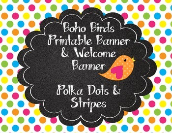 Boho bird cute birds printable banner polka dots stripes
